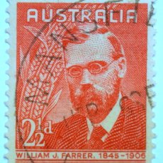 Sellos: SELLO POSTAL AUSTRALIA 1948, 2 D, WILLIAM J. FARRER, CONMEMORATIVO, USADO. Lote 153563818
