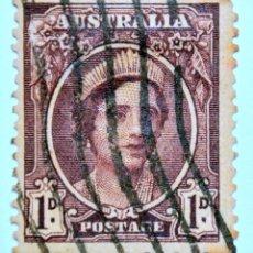 Sellos: SELLO POSTAL AUSTRALIA 1943, 1 D, REINA ELIZABETH, USADO. Lote 153564126