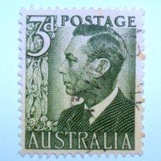 Sellos: SELLO POSTAL AUSTRALIA 1951, 3 D, REY GEORGE VI, USADO. Lote 153565726