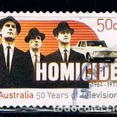 Sellos: AUSTRALIA 2566, 50 ANIVERSARIO DE LA TELEVISION AUSTRALIANA, HOMICIIDIOS, SERIE DE 1964-1977, USADO. Lote 175858085