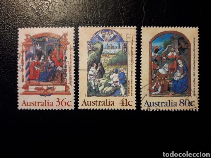 AUSTRALIA. YVERT 1135/7 SERIE COMPLETA USADA. NAVIDAD. ANUNCIACIÓN. REYES MAGOS (Sellos - Extranjero - Oceanía - Australia)