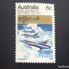 Sellos: AUSTRALIA Nº YVERT 436*** AÑO 1971. AVIACION. 50 ANIVERSARIO DE LA ROYAL AUSTRALIAN AIR FORCE. Lote 179337177