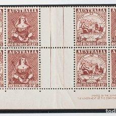 Sellos: AUSTRALIA. MNH **YV 175/76(4). 1950. SERIE COMPLETA, EN BLOQUE DE CUATRO CON INTERPANEL Y LEYENDA.. Lote 183145325