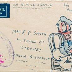 Sellos: AUSTRALIA. SOBRE YV . 1943. DIRIGIDA A STEPNEY, SOBRE CON DIBUJO A MANO DEL PATO DONALD. MANUSCRI. Lote 183150015