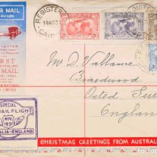 Sellos: AUSTRALIA. SOBRE YV 75/76, AÉREO 3, 4. 1931. SERIE COMPLETA, 6 P CASTAÑO Y 6 P VIOLETA. CERTIFICADO. Lote 183160656