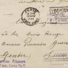 Sellos: AUSTRALIA, CAMPO DE CONCENTRACIÓN. SOBRE YV . 1941. PERTH A GINEBRA (SUIZA), REMITIDA POR UN PRISIO. Lote 183160812