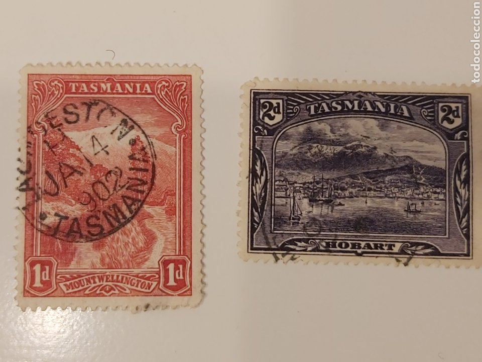 DOS SELLOS DE TASMANIA (AUSTRALIA) - MOUNT WELLINGTON, HOBART (1899-1900) - USADOS (Sellos - Extranjero - Oceanía - Australia)