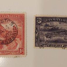 Sellos: DOS SELLOS DE TASMANIA (AUSTRALIA) - MOUNT WELLINGTON, HOBART (1899-1900) - USADOS. Lote 189675232