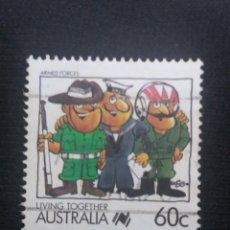 Sellos: POSTAGE AUSTRALIA, 60C , LIVING TOGETHER, 1988.. Lote 192002306