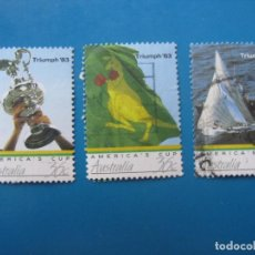 Sellos: +AUSTRALIA 1986, COPA DE AMERICA, YVERT 977/79. Lote 206155361