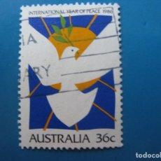 Sellos: +AUSTRALIA 1986, AÑO INTERNACIONAL DE LA PAZ, YVERT 980. Lote 206156273