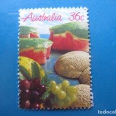 Sellos: +AUSTRALIA 1987, FRUTAS, YVERT 990. Lote 206157760