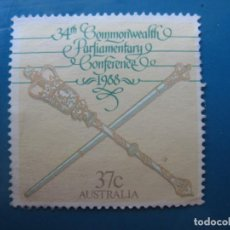 Sellos: +AUSTRALIA 1988, CONFERENCIA DE LA COMMONWEALTH, YVERT 1097. Lote 206251357