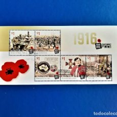 Sellos: AUSTRALIA HOJITA 1916 CENTENARY OF WW1 CON SELLO. Lote 245528830