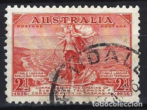 AUSTRALIA 1936 - APERTURA DE LA LÍNEA TELÉFONICA ENTRE AUSTRALIA Y TASMANIA - SELLO USADO (Sellos - Extranjero - Oceanía - Australia)