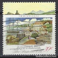 Sellos: AUSTRALIA 1989 - 2º CENTENARIO DE LA COLONIZACIÓN DE AUSTRALIA, BARCO DE INMIGRANTES - SELLO USADO. Lote 211612951