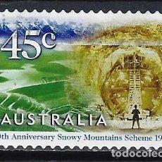 Sellos: AUSTRALIA 1999 - 50º ANIV. COMPLEJO HIDROELECTRICO, TÚNEL TUMUT 2. 1960 - SELLO USADO ADHESIVO. Lote 211773505