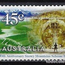 Sellos: AUSTRALIA 1999 - 50º ANIV. COMPLEJO HIDROELECTRICO, TÚNEL TUMUT 2. 1960 - SELLO USADO ADHESIVO. Lote 211773567