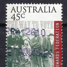 Sellos: AUSTRALIA 2000 - CENTENARIO DE LA INDEPENDENCIA, VOTANTES ESPERANDO EL RESULTADO - SELLO USADO. Lote 211775632