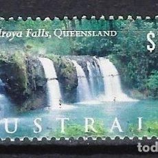 Sellos: AUSTRALIA 2000 - TURISMO, CASCADAS DE NANDROYA. QUEENSLAND - SELLO USADO. Lote 211775771