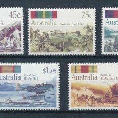 Sellos: AUSTRALIA 1992 IVERT 1242/6 *** 50º ANIVERSARIO DE LA SEGUNDA GUERRA MUNDIAL - BATALLAS DE LA GUERRA. Lote 215021206