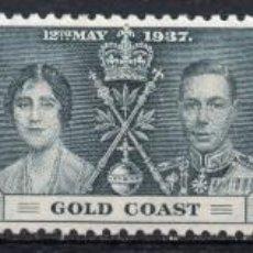 Sellos: GOLD COAST/1937/MNH/SC#112-4/ EMISION DE CORONACION / REY EDUARDO VII & REINA ELIZABETH / REALEZA. Lote 215503841