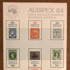 Sellos: SELLOS. AUSTRALIA, HOJA BLOQUE EXPOSICIÓN FILATÉLICA INTERNACIONAL AUSIPEX 1984.. Lote 216827917