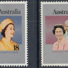 Sellos: AUSTRALIA 1977 IVERT 612/3 *** 25º ANIVERSARIO DE LA ASCENSIÓN AL TRONO DE S.M. ISABEL II. Lote 218610165