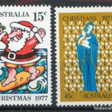 Sellos: AUSTRALIA 1977 IVERT 622/3 *** NAVIDAD - PAPA NOEL Y LA VIRGEN Y EL NIÑO. Lote 218610588