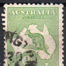 Sellos: AUSTRALIA/1913/USED/SC#1/ CANGURO Y MAPA , 1/2P VERDE, WMK 8. Lote 220608320