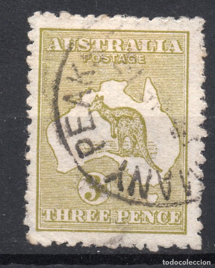 AUSTRALIA/1913/USED/SC#5/ CANGURO Y MAPA, 3P OL BIS, WMK 8 INVERTIDO (Sellos - Extranjero - Oceanía - Australia)