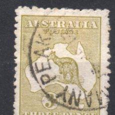 Sellos: AUSTRALIA/1913/USED/SC#5/ CANGURO Y MAPA, 3P OL BIS, WMK 8 INVERTIDO. Lote 220608650