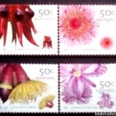 Sellos: AUSTRALIA FLORES SERIE DE SELLOS USADOS. Lote 221998572