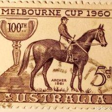 Sellos: AUSTRALIA 1960 CENTENARIO DE LA COPA HÍPICA DE MELBOURNE.. Lote 223027995