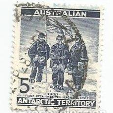 Sellos: SELLO USADO DE AUSTRALIA TERRITORIO ANTARTICO 1961- EXPEDICION 1909 POLO-YVERT 6-VALOR 5 PENIQUES. Lote 229736160