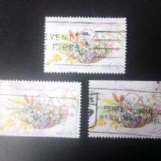 Sellos: AUSTRALIA 1992, FELICITACIÓN, FLORES, YT 1231,A, B. Lote 231155325