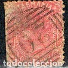 Sellos: TASMANIA (ESTADO DE AUSTRALIA) AÑO 1870, Nº 20, LA REINA VICTORIA DE INGLATERRA, USADO. Lote 241030055
