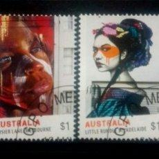 Sellos: AUSTRALIA ABORÍGENES AUSTRALIANAS SERIE DE SELLOS USADOS DE 1 DOLAR. Lote 241830155