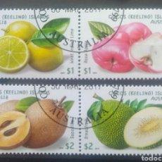 Sellos: AUSTRALIA 2017 ISLAS COCOS FRUTAS TROPICALES SERIE DE SELLOS USADOS FACIAL ALTO 1 Y 2 DÓLARES. Lote 241833310