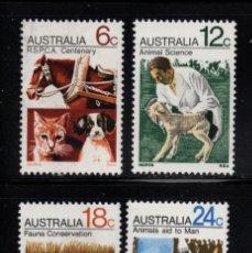 Sellos: AUSTRALIA 439/42** - AÑO 1971 - SOCIEDAD PROTECTORA DE ANIMALES. Lote 245058910