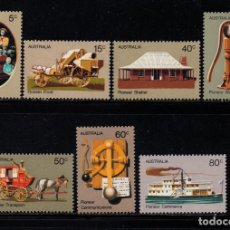 Sellos: AUSTRALIA 477/83** - AÑO 1972 - PIONEROS AUSTRALIANOS - MEDIOS DE TRANSPORTE - BARCOS. Lote 245059495