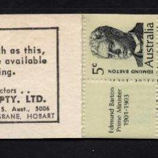 Sellos: AUSTRALIA CARNET 397** - AÑO 1969 - PERSONAJES - PRIMEROS MINISTROS. Lote 246538985