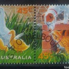 Sellos: AUSTRALIA ANIMALES DOMÉSTICOS DIPTICO DE SELLOS USADOS. Lote 261159455