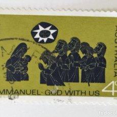 Sellos: SELLO DE AUSTRALIA 4 C - 1966 - NAVIDAD - USADO SIN SEÑAL DE FIJASELLOS. Lote 262061455