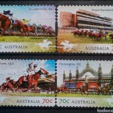 Sellos: AUSTRALIA HIPICA CARRERA DE CABALLOS SERIE DE SELLOS USADOS. Lote 276995013