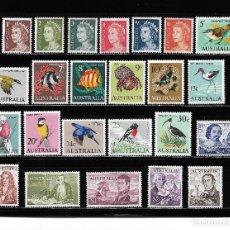 Sellos: AUSTRALIA 1966/70, SERIE COMPLETA 319/40 AVES, PECES. MNH.. Lote 288444148