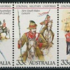 Sellos: AUSTRALIA 1985 IVERT 893/7 *** UNIFORMES MILITARES AUSTRALIANOS DEL SIGLO 19. Lote 294160928