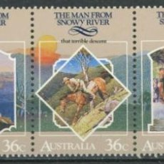 Sellos: AUSTRALIA 1987 IVERT 1007/11 *** FOLCLORE AUSTRALIANO (IV) - EL HOMBRE DE SNOWY RIVER. Lote 294162243