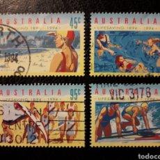 Sellos: AUSTRALIA YVERT 1343/6 SERIE COMPLETA USADA 1994 SALVAMENTO EN LAS PLAYAS PEDIDO MÍNIMO 3€. Lote 297138818