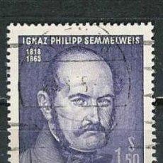 Sellos: AUSTRIA 1965. IGNAZ PHILIPP SEMMELWEIS (1818-65) FÍSICO. Lote 6882569